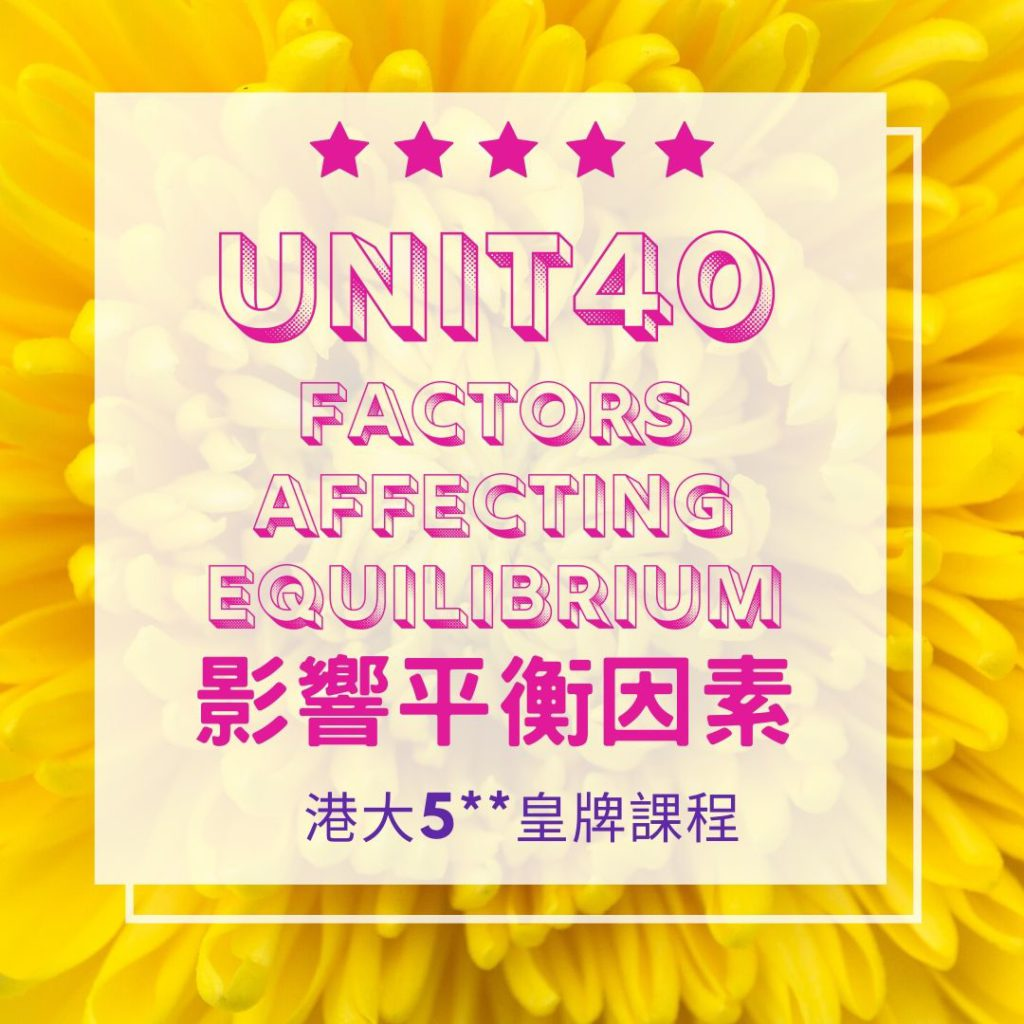 Unit 40. Factors Affecting Chemical Equilibrium Part B 化學平衡因素 2